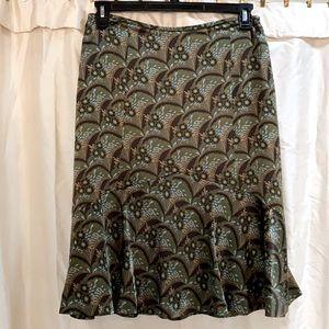 Ann Taylor LOFT Multicolor floral SILK skirt 10